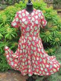 1940's Red linen flower print vintage tea dress **SOLD**